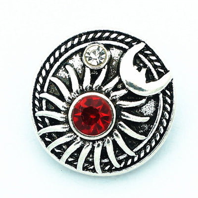 Viking Sol & Mani 18MM Metal Snap Buttons Silver-Tone Alloy Red or Orange