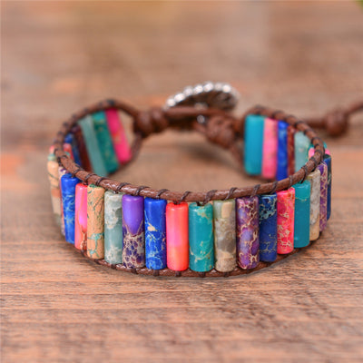 Colorful Natural Stone Bead and Brown Leather Bracelet Button Closure S to M Unisex
