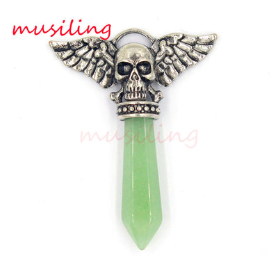 Viking  Semi-Precious Stone Prism Skull Wings Silver-tone Necklace 19 Colors Unisex