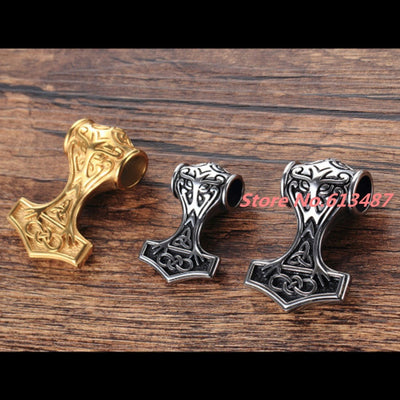 Norse Thor's Hammer Stainless Steel Silver or Gold 35 or 45 mm Pendant