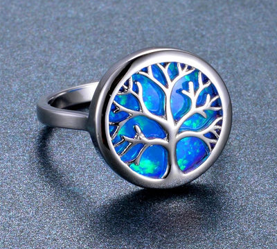 World Tree Blue Fire Opal Life Tree Rings 925 Sterling Silver Filled Silver Size 6-10 Unisex