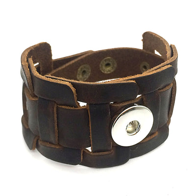 "Bold Viking Snap Button Woven Leather Bracelet 18 mm Alloy 9"" 3 Colors Snap Button Jewelry Unisex"