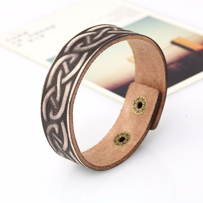 Norse Knot Design Brown and Tan Leather Bracelet 23 cm Length with 2 Adjustable Snaps Unisex