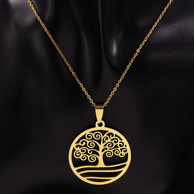 World Tree Stainless Steel Gold Color Necklace & Earrings Set Unisex