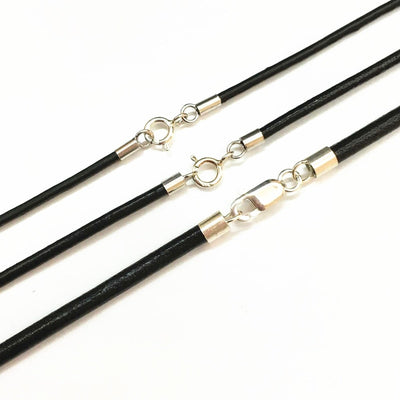 "Black Leather 1.5/2/3mm Necklace 13.8""-25.6"" 925 Sterling Silver Circle/ Lobster Clasp Unisex"