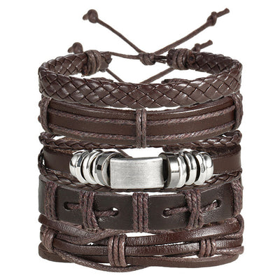 Vintage Set of 5 Hand Crafted Leather Bracelets with Zinc Charm Fits Most Unisex