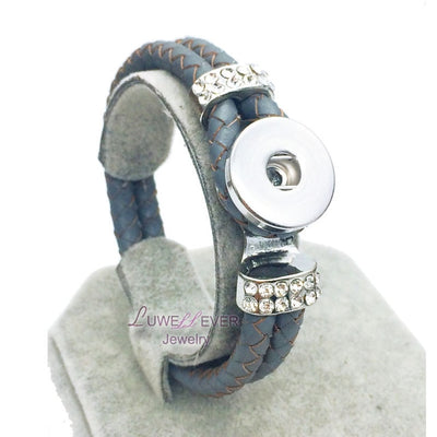 Snap Button 12 Colors Leather Braided Bracelet 18 mm Snap Button Jewelry Unisex