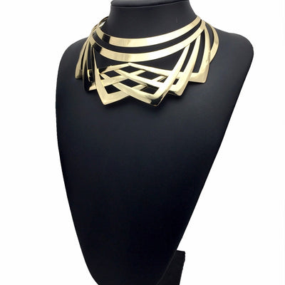 Impressive Vintage Gold or Silver Zinc Slip-on Collar Necklace