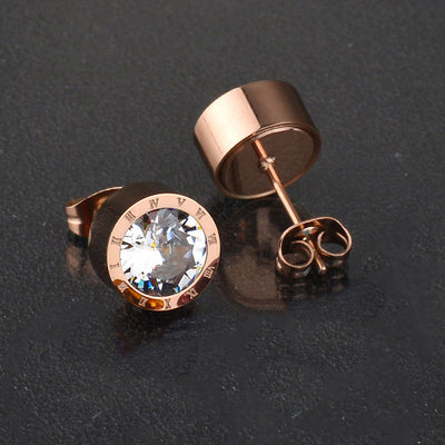Set 7 CZ Stones Stainless Steel Changeable Earrings Rose/Gold/Silver Unisex