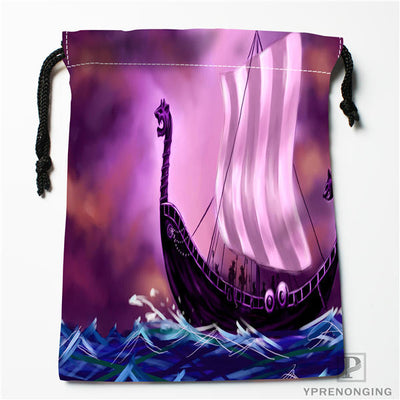 "Viking Longboat Bags 10 Choice Cloth Drawstring Travel Swim Hiking 7"" x 9"" Unisex"