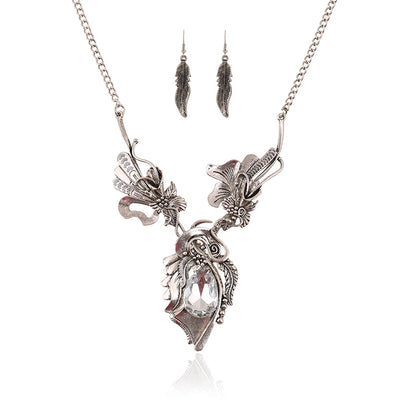 "Feathers & Flowers Vintage Silver Choker 16-18"" Necklace and Earrings Set"