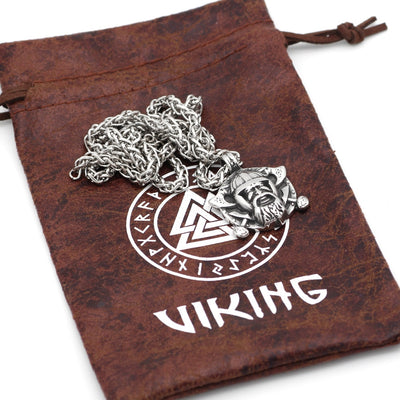 "Odin Norse Allfather Stainless Steel Silver Pendant 24"" Necklace"