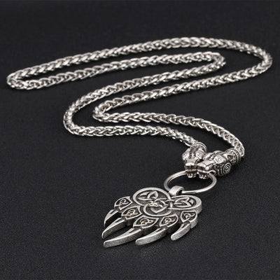 "Viking Bear Claw Silver Zinc Pendant with 20"" Wheat Chain Necklace Men"