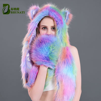 Cute Aurora Borealis Bear Colorful Faux Fur Long Hood Hat