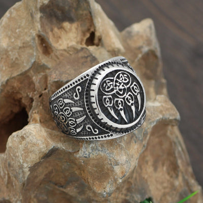 Viking Bear Claw Antiqued-Silver Stainless Steel Sizes 9-13 Unisex Ring