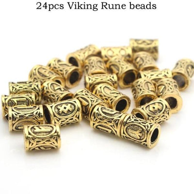 Runes Set of 24 pcs  Silver or Gold Zinc Viking Hair or Beard Beads Unisex