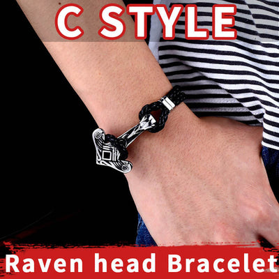"Mjolnir Stainless Steel & Black Leather Braided Bracelet 3 Sizes 7""- 8.6"" Styles Unisex"