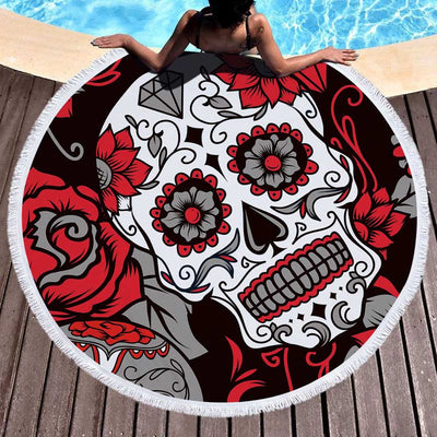 Designer Art Skull Large Round Beach Towel Microfiber Home Decor