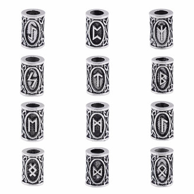 Viking Runes 24 pc. Silver Set Beads for Hair or Beard Zinc Unisex