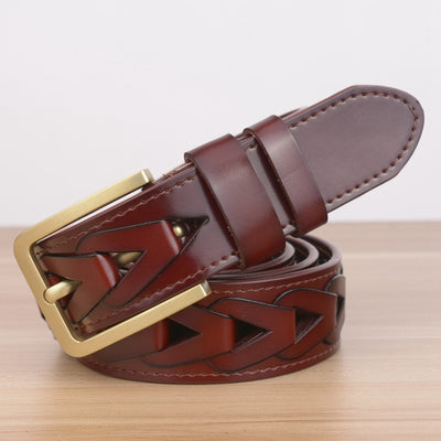 "Interlocking Designer Belt Genuine Leather 4 Colors Size 43"" 45"" 47"" & 49"" Handcrafted"