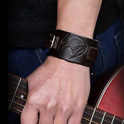 "Wolf Black or Brown Leather Bracelet 11""- 10 Adjustments Unisex"