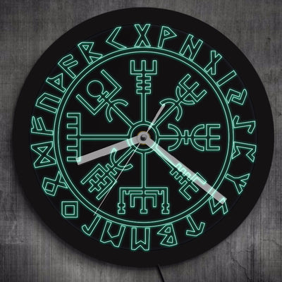 Viking Vegvisir & Runes LED Neon Wall Clock Glow-in-Dark Changes Colors