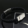 Viking/Norse Braided Black Leather  8.6 inches Bracelet with Stainless Steel Accent Men Unisex