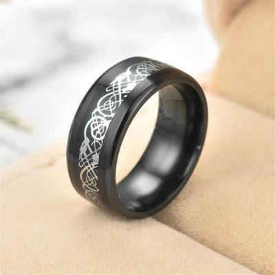 Norse Sea Serpent Stainless Steel Choice: Blue Black Silver Gold Turquoise Size 6-13 Ring