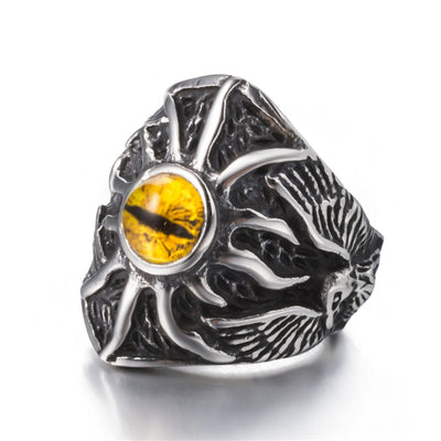 Viking Yellow Dragon Eye Silver & Black Stainless Steel Sizes 8-12 Ring