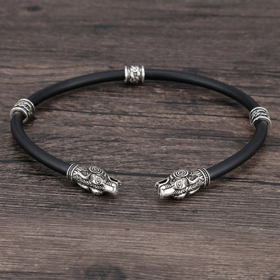 Viking Torc Silver-Tone 3 Beads Designs Runes/Dragon/Braid Choker Necklace Unisex
