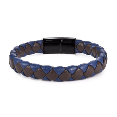 "Braided Leather Blue/ Brown/Black Bracelets Steel Magnetic 7.3""/ 8""/8.7"" 8 Styles Unisex"