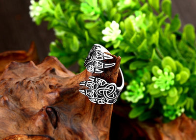 Bear Claw By-Pass Antiqued Silver Stainless Steel 7-13 Ring Unisex