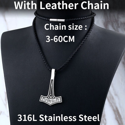 "Thor Hammer Silver Pendant Stainless Steel 24"" 5 Choices Necklace"