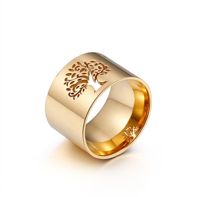 Bold World Tree or Clover 316L Stainless Steel Gold or Silver Ring Sz 6-9 Unisex