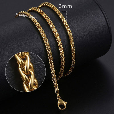 Gold or Black Stainless Steel 4 Designs 1-5mm 18-26 inch Chain Necklaces