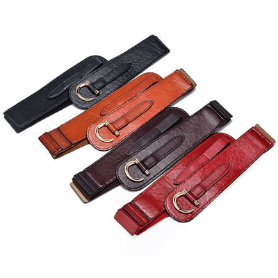 Quality Wide Retro Leather Belts 3 Colors Fits Waist 29-35 Inches Belt for Women