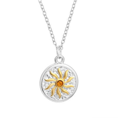 "Norse Sol Silver or Gold Zinc Pendant w/ Golden CZ 18"" Chain Necklace Unisex"