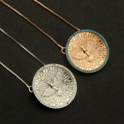 Gold or Silver Eagle Round Copper Pendant w/ Blue or Clear CZs Necklace