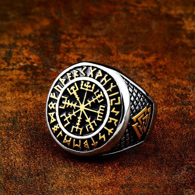 Viking Vegvisir Silver Or Gold & Silver Stainless Steel Ring 7-13 Unisex