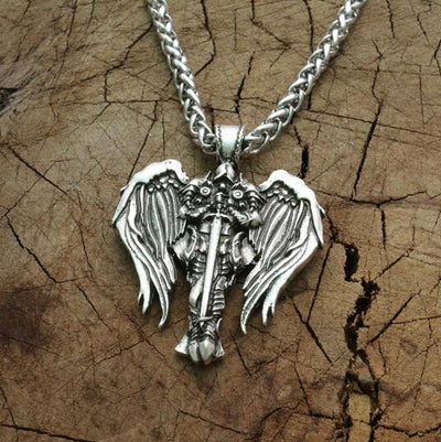 "Valkyries of Fallen Warriors Silver-Tone Stainless Steel 22"" Necklace Unisex"