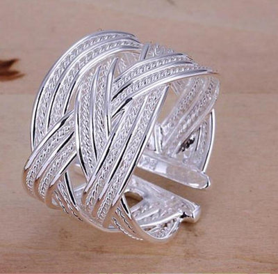 Viking/Norse Silver Braided 925 Sterling Silver Adjustable Ring Unisex
