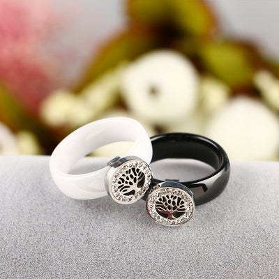 Tree of Life/ World Tree Black or White Ceramic Ring  CZ Stones SZ 6-9 Women Unisex