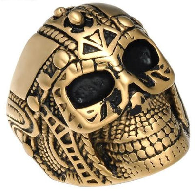 "Viking Skull Gold & Black Stainless Steel 1"" Ring Size 8-12 Unisex"