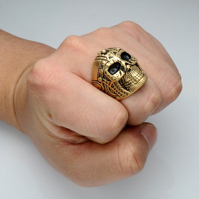 Viking Skull Gold & Black Stainless Steel Ring Size 8-12 Unisex