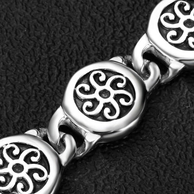 Sun/Wind Viking Silver & Black Stainless Steel Heavy 8.66 Inches Bracelet Men/Women