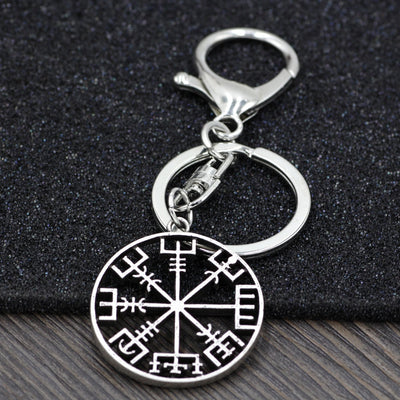 Icelandic Viking Protection Key Chain w/Clip Stainless & Alloy Silver