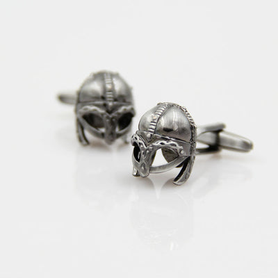 Viking Warrior Helmet  Copper Alloy Silver-Tone Cufflinks Unisex