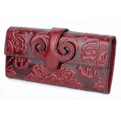 Premium Floral Embossed Leather Black Blue Red Green Purple Orange Long Wallets