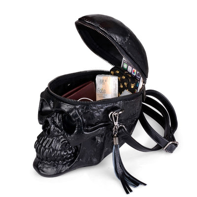 New Black Skull 3D Cross Body Messenger Bag Synthetic Leather Bag Unisex