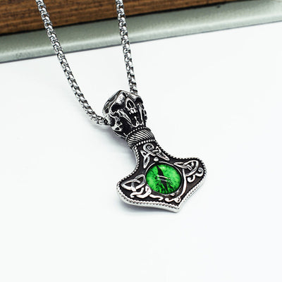 Thor Hammer Silver Pendant w/ Blue or Green Dragon Eye Stainless Steel Chain Necklace Unisex